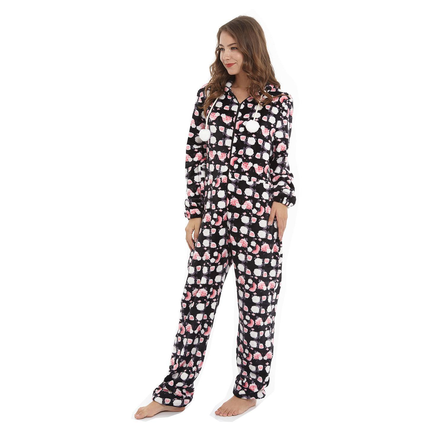 Women New Onesies Pajama Kigurumi Comfortable Flannel Keep Warm And Soft Jumpsuit Pajama Novelty Hooded Floral Homewear