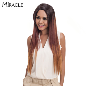 """Image 5 - Noble Hair Ombre Wig Colorful Heat Resistant Synthetic Hair Can Be Permed 32""""Inch Long Straight Lace Front Wigs For Black Women"""