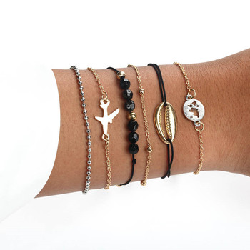 18 Styles Bohemian Bracelet Set For women Shell Star Map lotus pineapple Heart Natural stone Beads chains Bangle Jewelry 2020 4