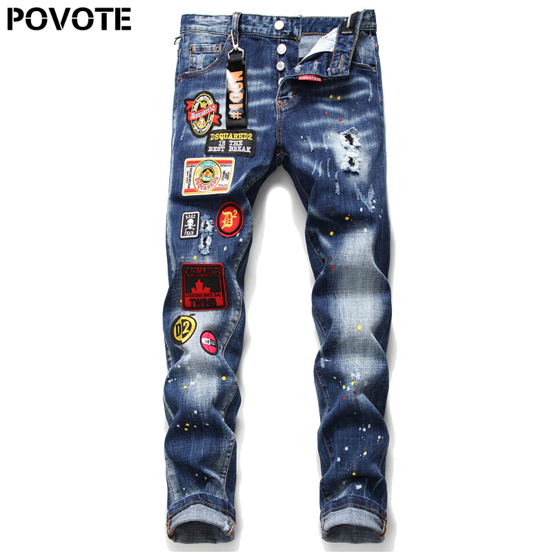 POVOTE Brand Men's Jeans Pants Men's Slim Jeans Patchwork Letter Jeans Pants Men's Black Hole Jeans Trend Design