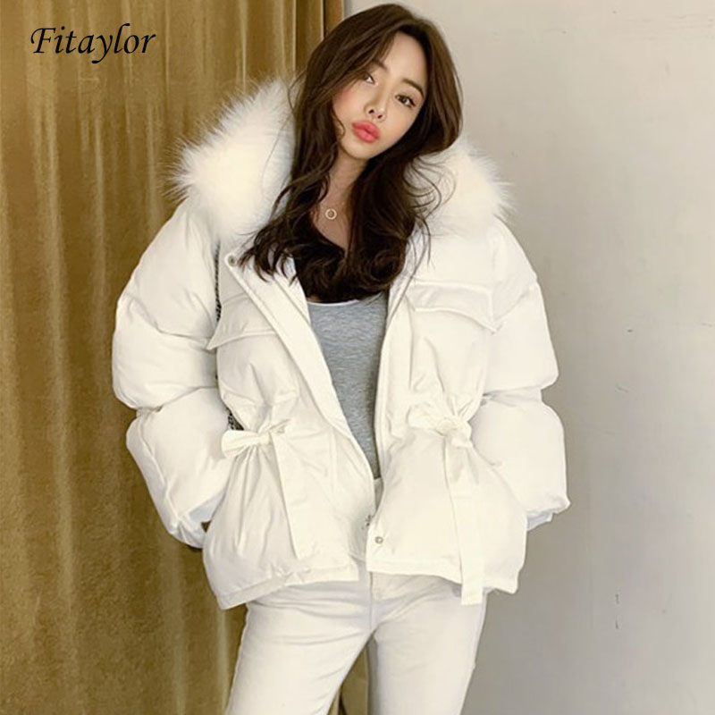 Fitaylor Real Natural Raccoon Fur Collar Winter Jackets Women 90% White Duck Down Parkas Women Thick Warm Hooded Snow Outerwear