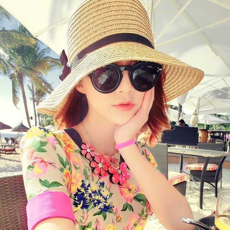 Hợp Thời Trang Quyến Rũ Mùa Hè Nắng Đi Biển Nón Boho Nữ Ống Hút Nắp Nữ Trắng Kaki Phong Cách Nhật Bản Thiết Kế Chống Nắng Nón