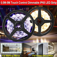 5V USB LED Strip Light SMD2835 0.5M-5M Waterproof LED Strip Makeup Mirror Light Flexible Touch Control Dimmable Led Light Strip
