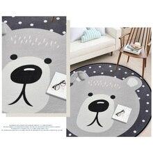 80*80CM Living Room Mat Dot  Chair Floor Mat animal design panda wolf pattern Round Carpet Children Bedroom Play Tent Area Rug
