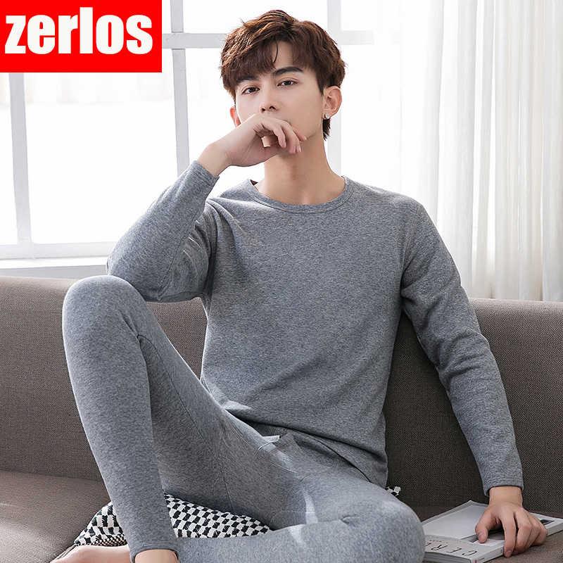 남극 남자 열 속옷 세트 남성 플러스 두꺼운 벨벳 라운드 목 면화 스웨터 + 바지 정장 가을과 겨울 청소년 따뜻한