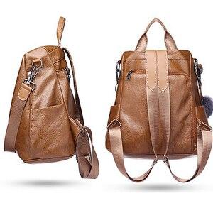 Image 2 - 2020 New Fashion Women Backpack Vintage PU Leather shoulder bag Backpacks large capacity For Female Travel Bags Mochila School