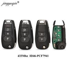 Jingyuqin Pieghevole Modificato 2/3/4 Tasto Chiave a Distanza Fob per Chevrolet Cruze 2014-2018 433 Mhz ID46 PCF7941 Chip di Smart Chip di Controllo Chiave