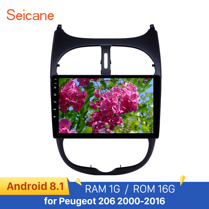 Seicane 9'' Audio AUX GPS Autoradio HD Touchscreen Android 8.1 Car Radio for <font><b>Peugeot</b></font> <font><b>206</b></font> 2000-2016 WIFI support Carplay DAB+ image