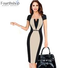 Цельное платье, костюмы для женщин, летнее контрастное лоскутное платье, одежда для работы, бизнеса, офиса, леди, облегающее платье-карандаш, костюм для женщин