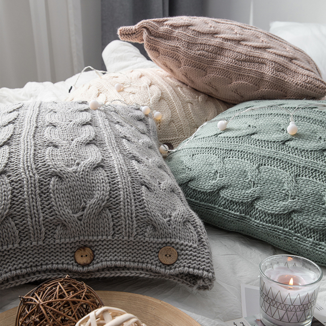 Cream Nordic Knitted Cushion Covers 5