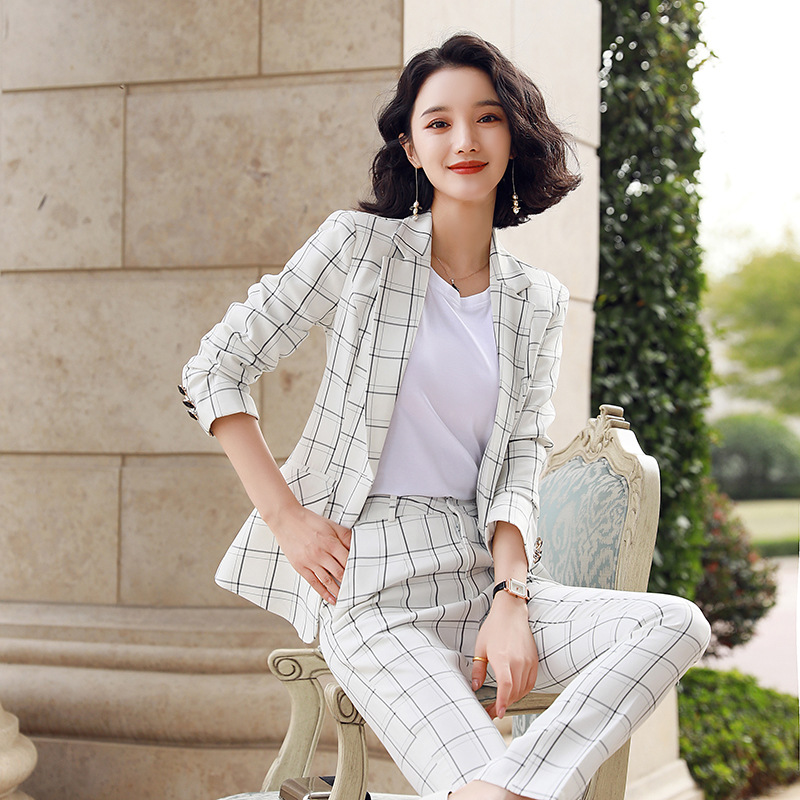 Fashion Professional Women's Suit Office Pants Two-piece 2020 New Spring Summer Plaid Women's Blazer Jacket Slim-fit Trousers