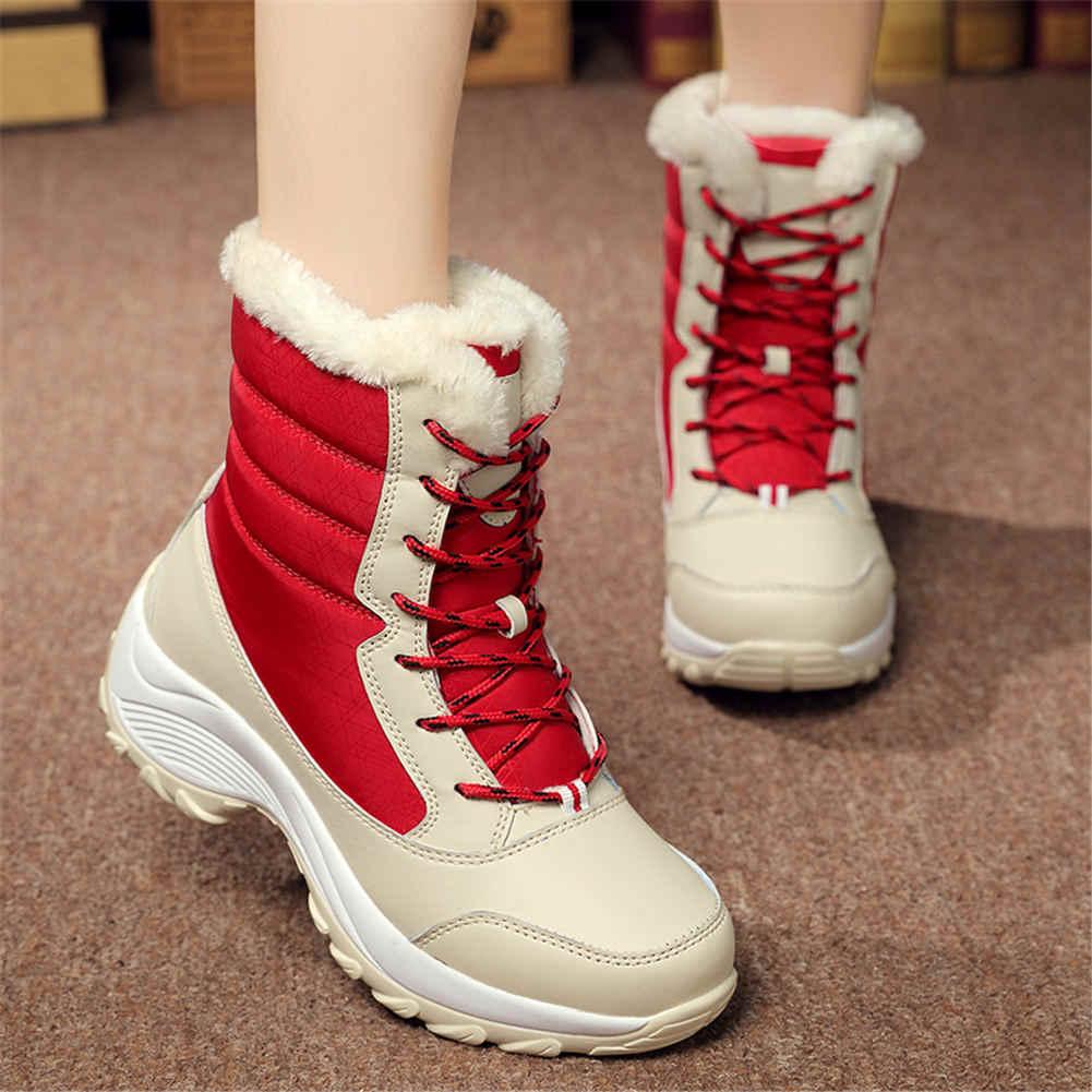 Nữ Be phối đỏ ngoài trời chất lượng Giày Người Phụ Nữ Chống Trượt Chống Nước Nga Mùa Đông Ủng Nữ Giày Nữ Ấm Áp bộ lông Botas Mujer