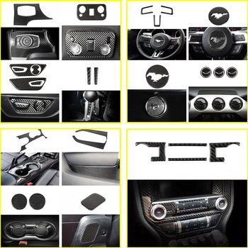 Carbon fiber Interior Decoration Stickers Cover For Ford Mustang 2015-2019 33pcs