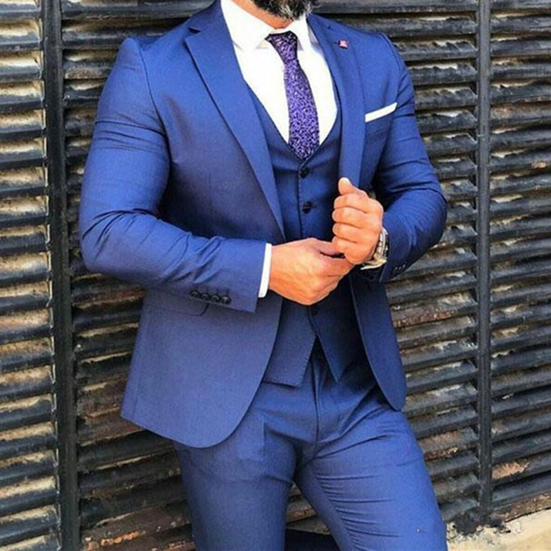 Casual Royal Blue Suits For Business Men Wedding Groom Tuxedo Latest Slim Costume Homme Mariage Terno Masculi(Coat+Pants+Vest)