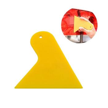 Plastic Car Sticker Scraper Car Foil Tool Yellow Triangle Small Scraper Window Wrapping Film Squeegee Scraper Glue Squeegee image