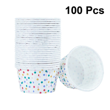100pcs Paper Ice Cream Cups Disposable Cake Cup Dessert Bowls Party Supplies for Baking Wedding Birthday Colorful Dots A50