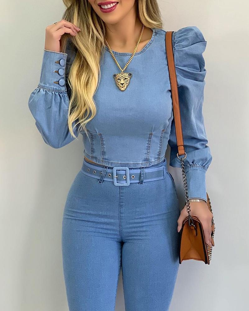 Женская блузка, рубашка, однотонная, с круглым вырезом, сексуальная, модная, с рукавами-пузырями, с длинными рукавами, повседневная, летняя, б...