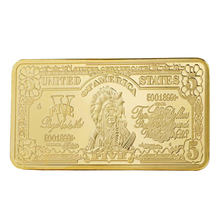 Souvenir Coin 5 Movie Commemorative Coin Bullion Bar Square Zinc Alloy 24K Gold-Plated Ornaments 0.9999 Fine Gold USA Souvenirs(China)