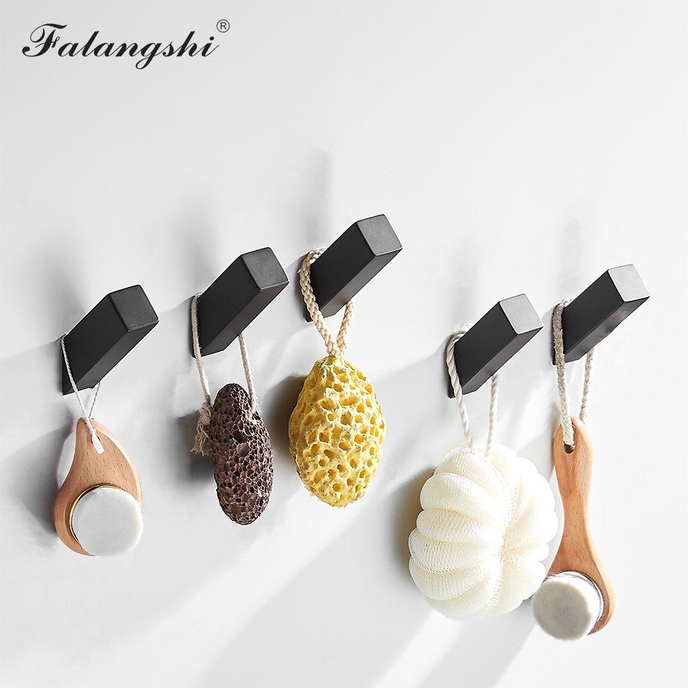 Falangshi 304 черные Крючки из нержавеющей стали, вешалка для одежды, устойчивая к коррозии гвоздь, завинчиваемые крючки для халата, настенные WB8111