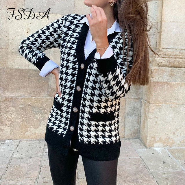 FSDA V Neck Women Button Black Houndstooth Cardigan 2020 Long Sleeve Sweater Autumn Winter Knitted Loose Oversized Jumper Casual 3
