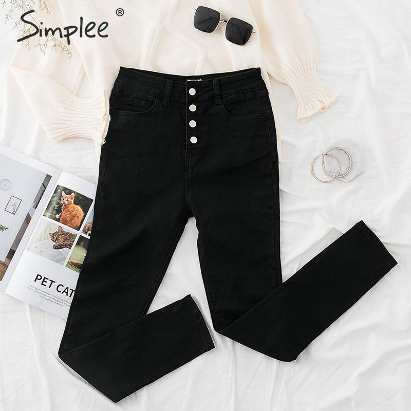 Simplee High Street Women Denim Pants Black High Waist Slim Pencil Jeans Stretchy Autumn Winter Ladies Plus Size Skinny Trousers