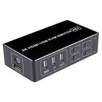 Conmutador KVM de 4 puertos HDMI, 4K, 2 puertos, USB, KVM, para 2 PC, portátil, compartir 1 monitor HDMI y teclado de ratón UBS