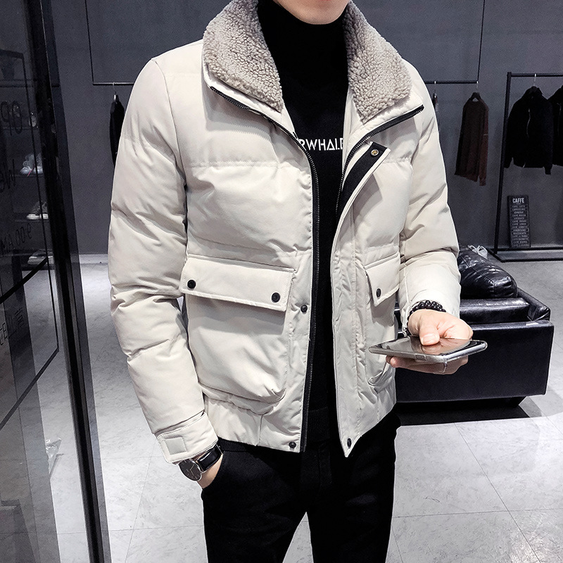 Cotton Coat Men's Korean-style 2019 Winter New Style Trend Handsome Lambs Wool Short Cotton-padded Jacket Thick Cotton-padded Cl