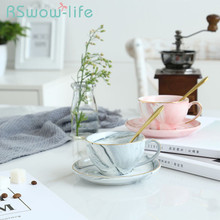 3Pcs Simple Marbled Ceramic Cup And Saucer Creative Phnom Penh Teacup Water Home Coffee Dish Spoon Set For Drinkware