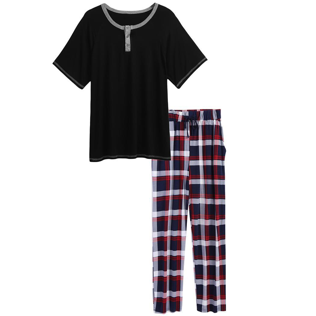 Pajamas-Set Top-Patchwork Short-Sleeve Men Summer Soft O-Neck Plaid With Long-Pants Spring