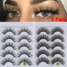 False-Eyelashes Faux-Mink-Hair Drama 3D Fluffies Handmade Cruelty-Free Wispies 5-Pairs