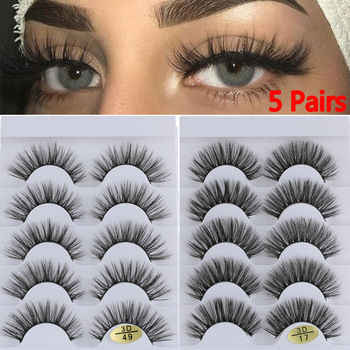 5 Pairs 3D Faux Mink Hair False Eyelashes Wispies Fluffies Drama Eyelashes Natural Long Soft Handmade Cruelty-free Black Lashes 1