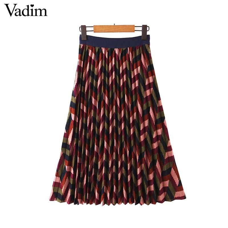 Image 2 - Vadim women elegant striped print midi skirt elastic waist retro female casual basic pleated mid calf skirts BA897Skirts   -