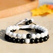 Парные браслеты макраме 8 мм черный белый натуральный матовый камень браслет из бисера для мужчин и женщин ручной работы для любителей расстояние Ювелирные изделия Подарки