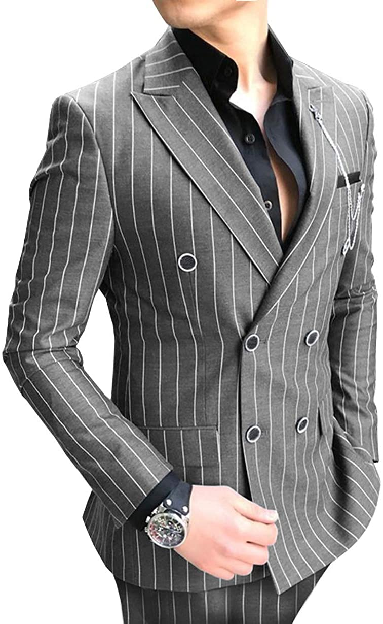 Formal Mens Suits Regular Fit 2 Piece Wool Prom Classic Striped Double Breasted Suits Grey Tuxedos Business Jacket For Wedding