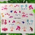 Воздушный шар, Радужный кролик, Водные Наклейки для ногтей, облако, подарки, десерт, звезда, мороженое, зонт, маникюрные слайдеры, украшения д...