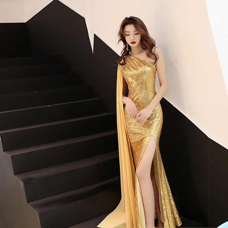 2020 apressado vestido de noite dourado 2020 nova moda temperamento celebridade banquete longo sexy lantejoulas host fishtail saia feminina