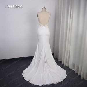 Image 2 - Spaghetti Strap Sheath Wedding Dress Lace Appliqued Pearl Beaded Low Back Crepe Bridal Gown Hilary Duffs Wedding Dress Material