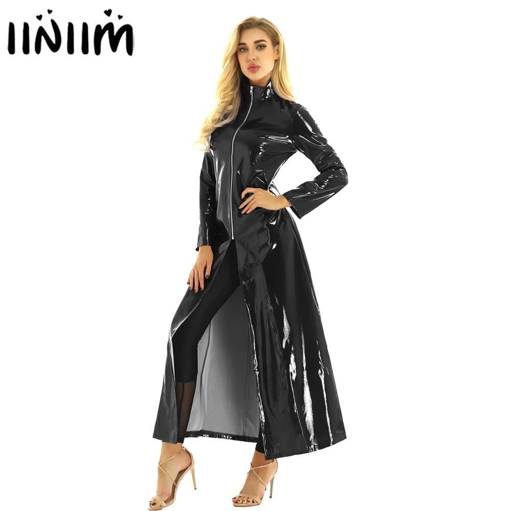 Iiniim Unisex Womens Famme Sexy Night Club PVC Leather Wetlook Long Sleeve Coat Evening Party Clubwear Holographic Costumes