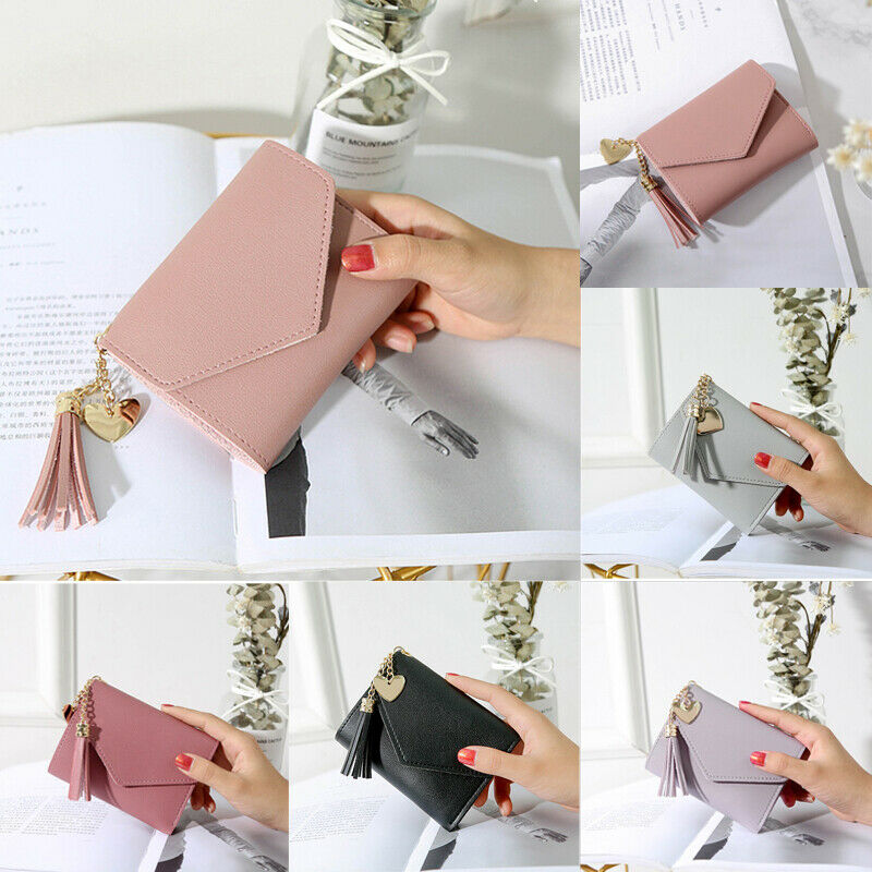 New 2020 Women's Short Small Wallet Lady Leather Three Folding Wallets Multi-card Position Card Package Lady Tassel Love Wallets
