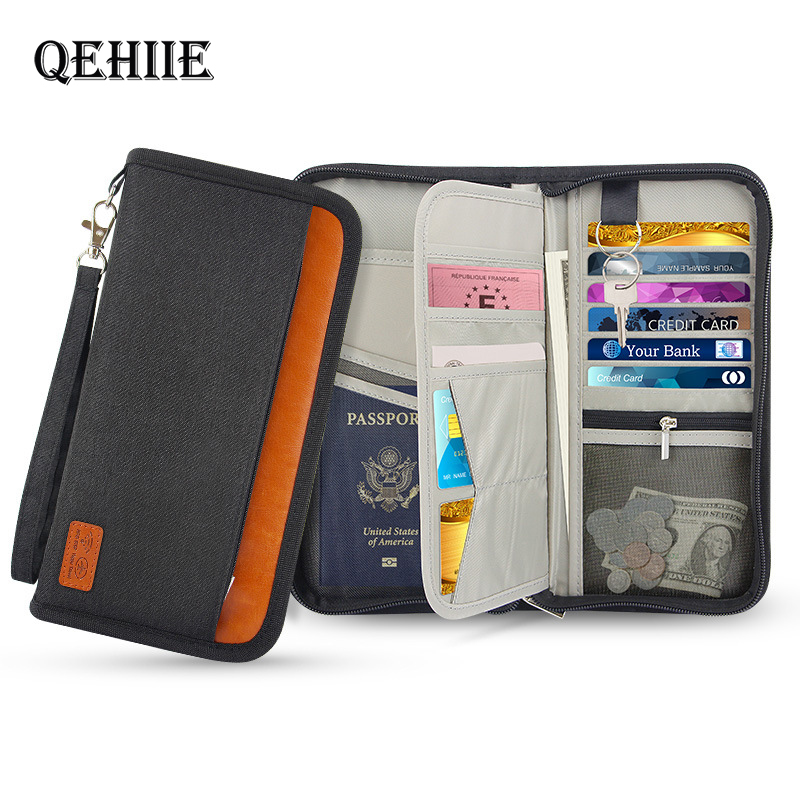 Brand Business Travel Wallet Anti-RFID Passport Cover Credit ID Card Package Passport Clip File Multifunction Organizer Bags Hot
