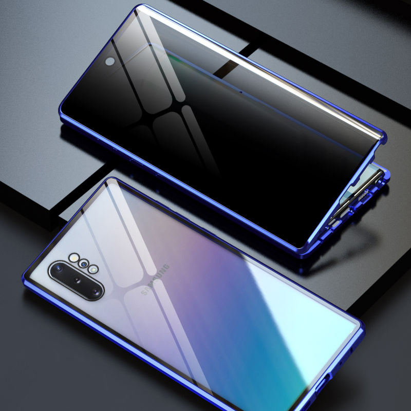 Rhombic Aluminum Metal Bumper Case For Samsung Galaxy Note 8 9 10 Plus Magnetic 360 Full Protection Anti Voyeur Glass Case Cover