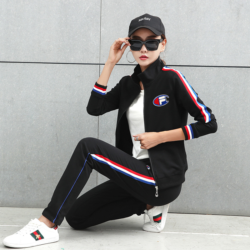 2019 Spring And Autumn New Style Korean-style Sports Clothing WOMEN'S Sport Suit Three-piece Set Fashion Loose Casual Sweatshirt