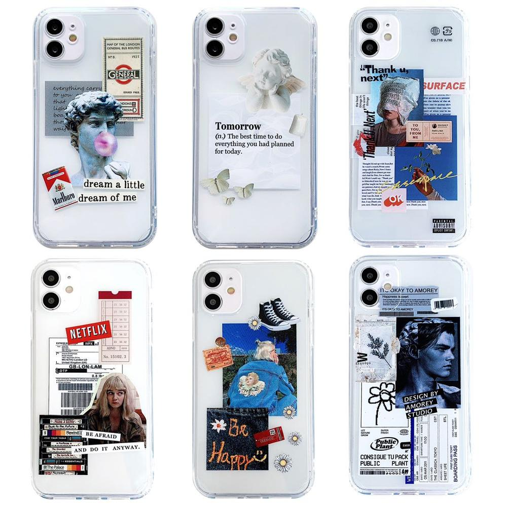 Straight Edge Cartoon Phone Case For iPhone 12 11 Pro Max XS Max XR X 7 8 Plus Case Fashion Label Clear Soft TPU Back Cover Case