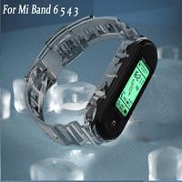 Per Xiaomi Mi Band 6 5 4 3 cinturino cinturino di ricambio in Silicone trasparente cinturino di colore rosa verde cinturini Xiomi Mi6 Miband band6