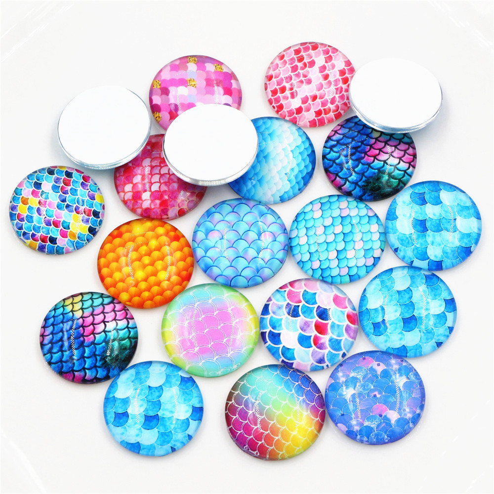 New Style 10pcs 20mm 25mm New Fashion Mixed Handmade Glass Cabochons Pattern Domed Jewelry Accessories Supplies