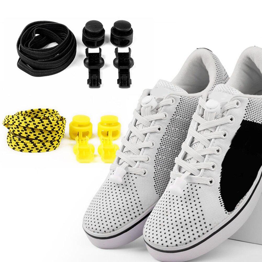 1 Pair 17 Colors Elastic Shoelaces Round Locking No Tie Shoe Laces Kids Adult Quick Lazy Laces Rubber Sneakers Shoelace