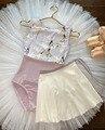 Балета юбка-пачка для женщин из шифона с цветочным рисунком, для обслуживания, тренировок, для балета, юбка Цветочный принт танцевальный кос...