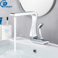 POIQIHY Chrome Basin Faucet Artistic Design Deck Mounted Bathroom Sink Water Tap Single Handle Cold Hot Basin Mixer Tap One Hole