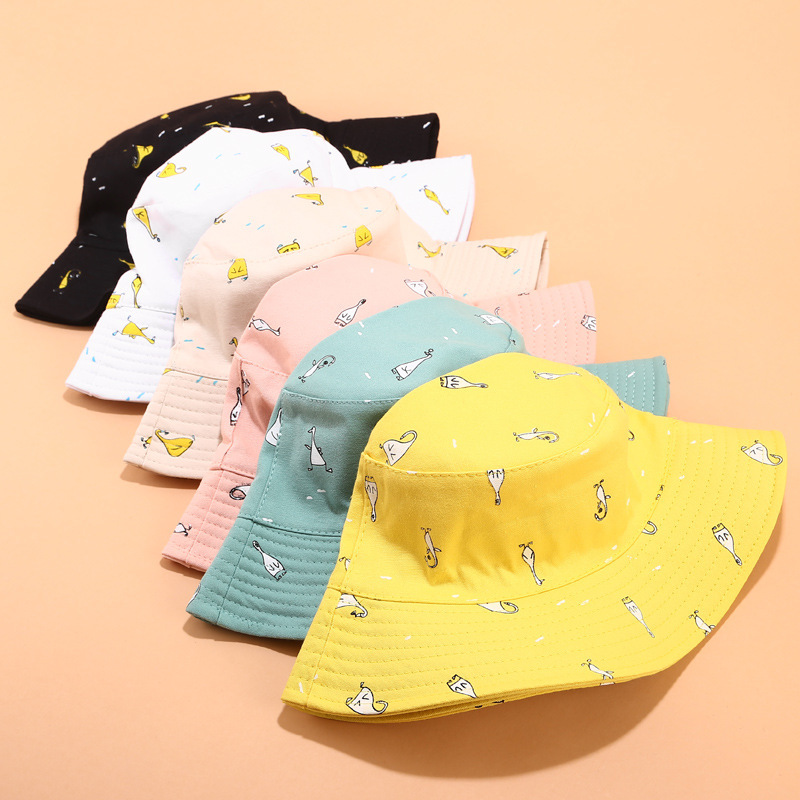 New Cartoon Cute Penguin Printed Bucket Hat Korean Female Fisherman Hat Spring And Summer Small Fresh Outdoor Sun Hats