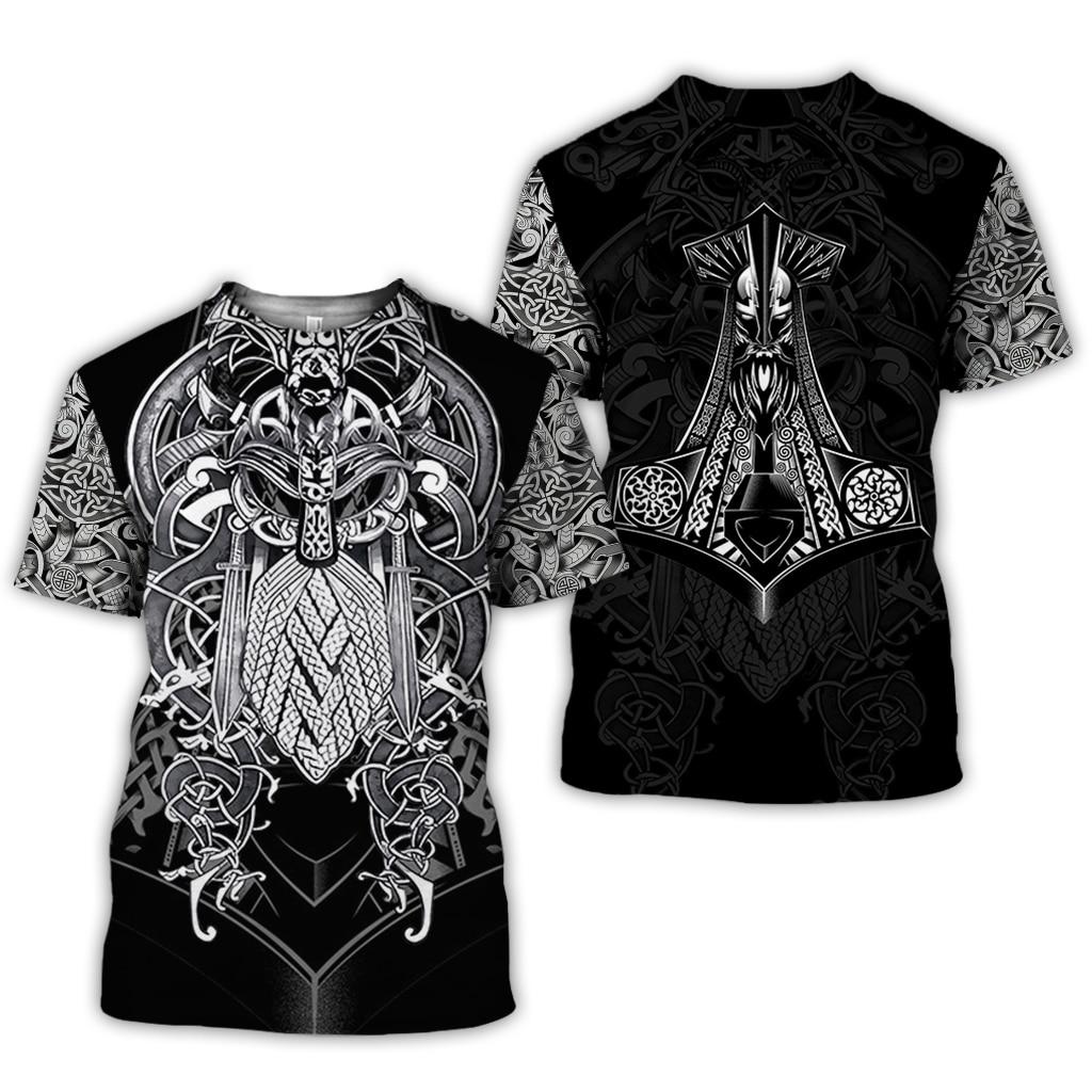 PLstar Cosmos 2019 New Summer Fashion Viking Tattoo T Shirt Men Viking Odin 3D Printed Funny T-shirt Harajuku Streetwear Tops
